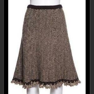 Chanel knit skirt w/leather trim